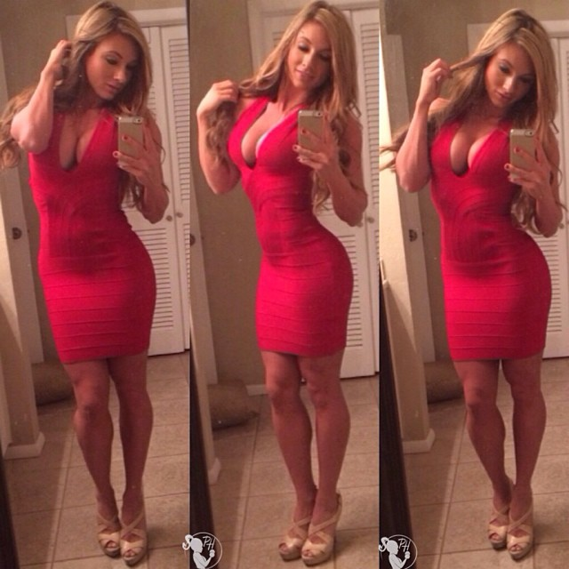 Sexy milf in red dress selfie